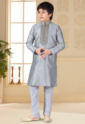 Hand Embroidered Art Silk Jacquard Kurta Set in Grey