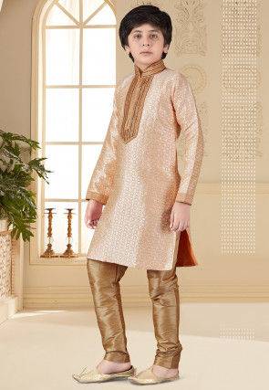 Hand Embroidered Art Silk Jacquard Kurta Set in Peach