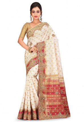 Hand Embroidered Art Silk Jacquard Saree in Off White