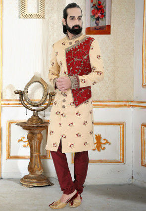 Hand Embroidered Art Silk Jacquard Sherwani in Beige and Red