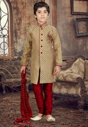 Hand Embroidered Art Silk Jacquard Sherwani in Beige
