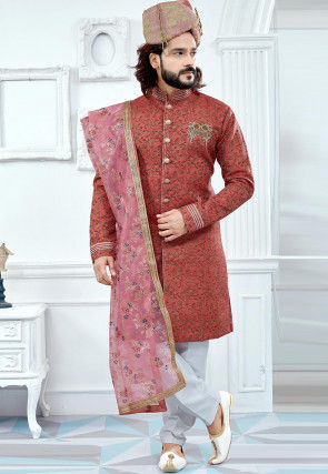 Hand Embroidered Art Silk Jacquard Sherwani in Dark Peach