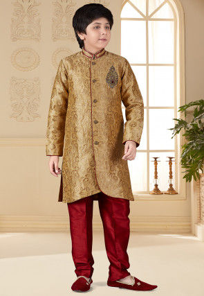Hand Embroidered Art Silk Jacquard Sherwani in Golden