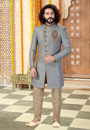 Hand Embroidered Art Silk Jacquard Sherwani in Grey