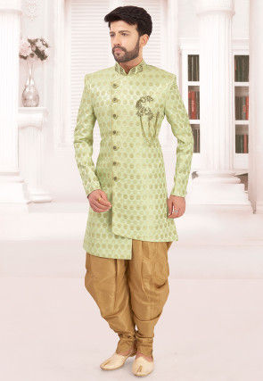 Hand Embroidered Art Silk Jacquard Sherwani in Light Green