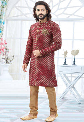 Hand Embroidered Art Silk Jacquard Sherwani in Maroon