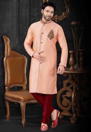 Hand Embroidered Art Silk Jacquard Sherwani in Peach