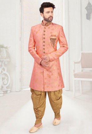 Hand Embroidered Art Silk Jacquard Sherwani in Pink