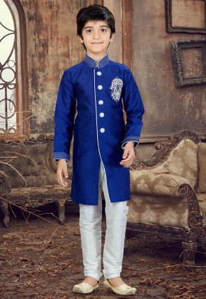 Hand Embroidered Art Silk Jacquard Sherwani in Royal Blue