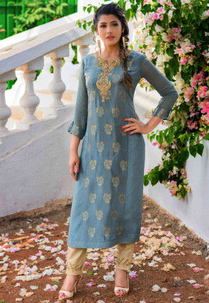 Hand Embroidered Art Silk Jacquard Straight Kurta in Blue