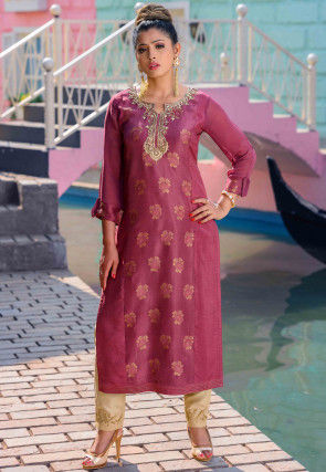Hand Embroidered Art Silk Jacquard Straight Kurta in Pink