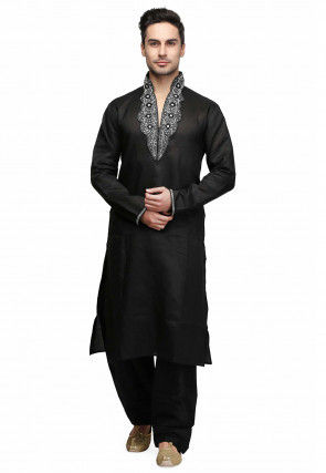 Hand Embroidered Art Silk Kurta in Black