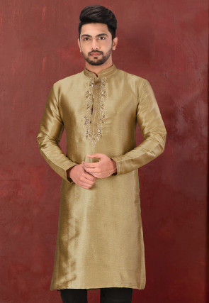 Hand Embroidered Art Silk Kurta in Dark Beige