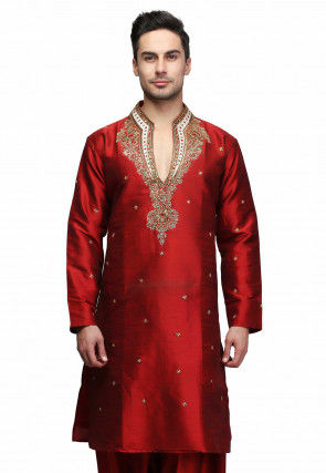 Hand Embroidered Art Silk Kurta in Maroon