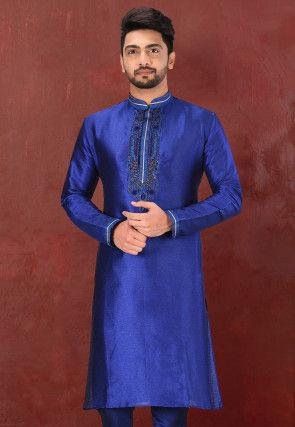 Hand Embroidered Art Silk Kurta in Royal Blue