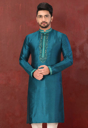 Hand Embroidered Art Silk Kurta in Teal Blue