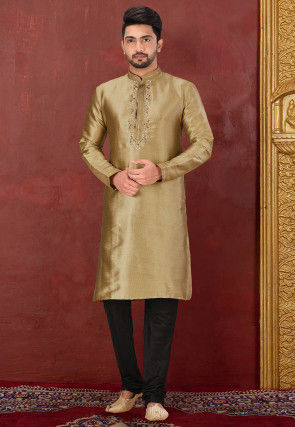 Hand Embroidered Art Silk Kurta Set in Dark Beige