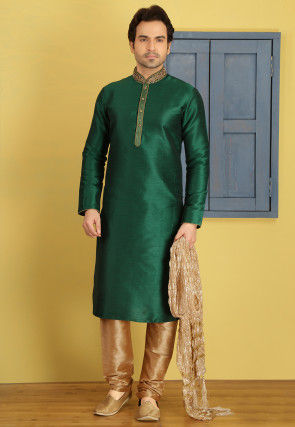 Hand Embroidered Art Silk Kurta Set in Green