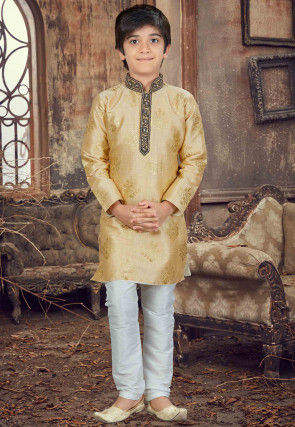 Hand Embroidered Art Silk Kurta Set in Light Beige