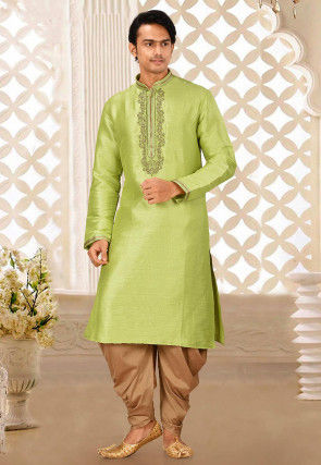 Hand Embroidered Art Silk Kurta Set in Light Green
