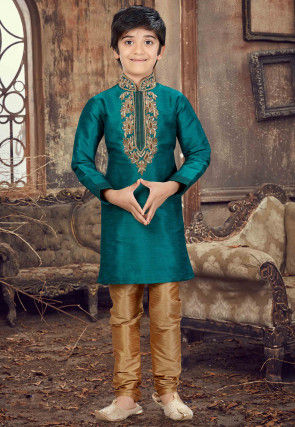 Hand Embroidered Art Silk Kurta Set in Teal Blue