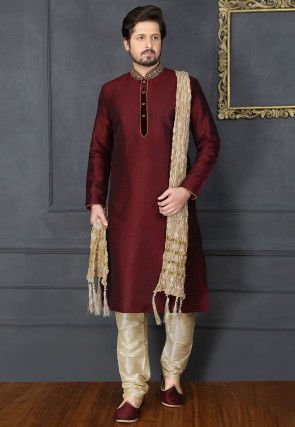 Hand Embroidered Art Silk Kurta Set in Wine