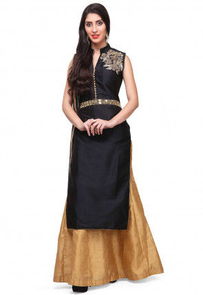 Hand Embroidered Art Silk Lehenga in Black