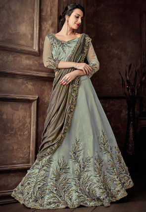 Hand Embroidered Art Silk Lehenga in Light Dusty Green