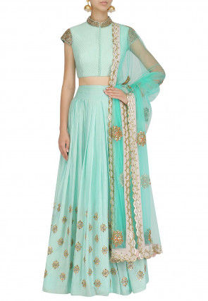 Hand Embroidered Art Silk Lehenga in Light Turquoise