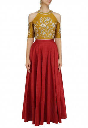 Hand Embroidered Art Silk Lehenga in Maroon