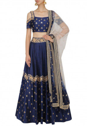 Hand Embroidered Art Silk Lehenga in Navy Blue