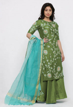 Hand Embroidered Art Silk Lehenga in Olive Green