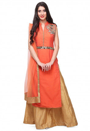 Hand Embroidered Art Silk Lehenga in Orange