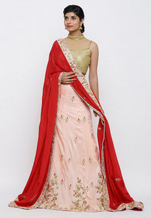 Hand Embroidered Art Silk Lehenga in Peach