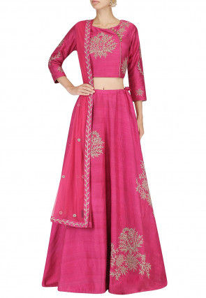 Hand Embroidered Art Silk Lehenga in Pink