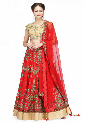 Hand Embroidered Art Silk Lehenga in Red