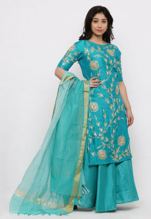 Hand Embroidered Art Silk Lehenga in Teal Green