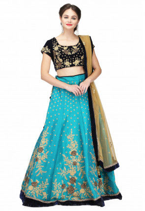 Hand Embroidered Art Silk Lehenga in Turquoise