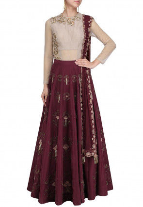 Hand Embroidered Art Silk Lehenga in Wine