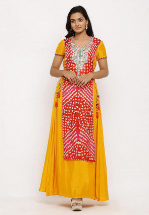Hand Embroidered Art Silk Long Kurta in Red and Mustard