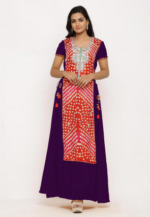 Hand Embroidered Art Silk Long Kurta in Red and Purple