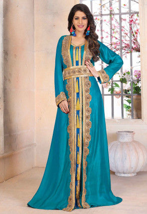 Hand Embroidered Art Silk Moroccan Abaya in Teal Blue