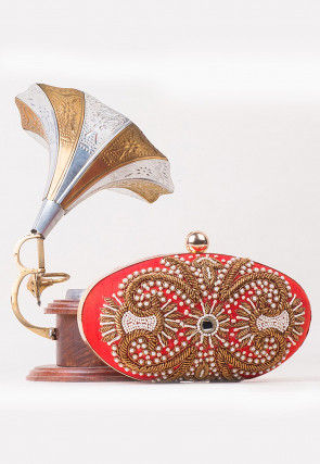 Hand Embroidered Art Silk Oval Box Clutch in Coral Red