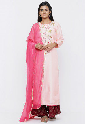 Hand Embroidered Art Silk Pakistani Suit in Baby Pink