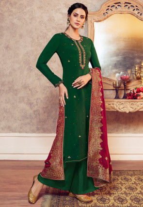 Hand Embroidered Art Silk Pakistani Suit in Dark Green