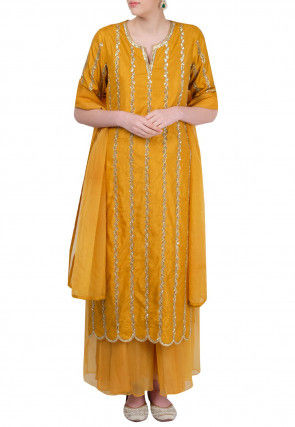 Hand Embroidered Art Silk Pakistani Suit in Mustard