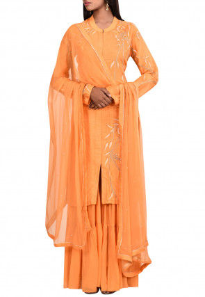 Hand Embroidered Art Silk Pakistani Suit in Orange