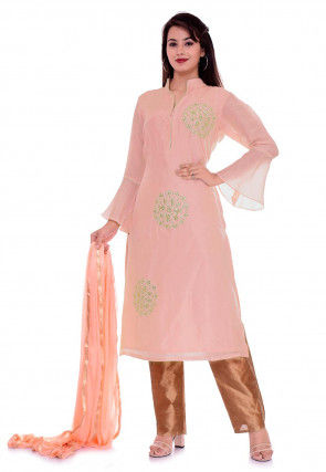 Hand Embroidered Art Silk Pakistani Suit in Peach