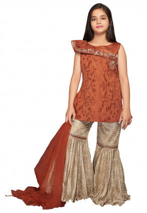 Hand Embroidered Art Silk Pakistani Suit in Rust