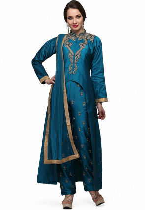 Hand Embroidered Art Silk Pakistani Suit in Teal Blue